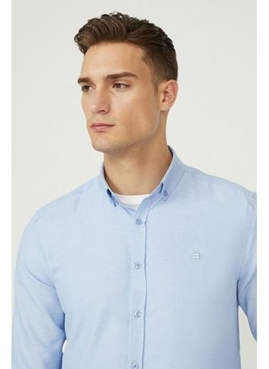 Avva Erkek  Oxford Düğmeli Yaka Slim Gömlek E002000.02 Mavi